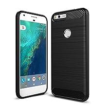 MOONCASE Google Pixel XL Case, Carbon Fiber Resilient [Drop Protection] [Anti-Scratch] Rugged Armor Case Cover for Google Pixel XL Black