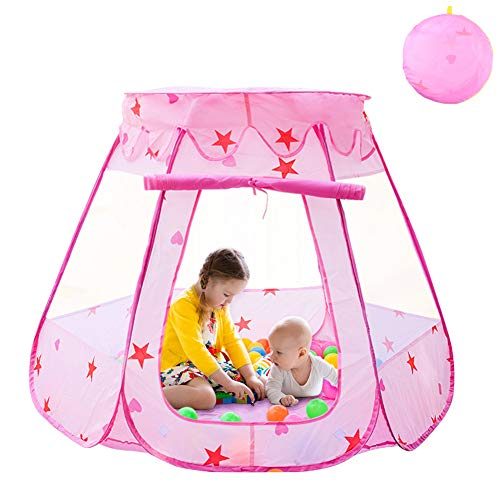 Agole Kids Tent Pink Princess Teepee Ball Pit Toddler Tent Girl Easy Pop Up Fold into a Carrying Case for Indoor Outdoor Portable Childrens Play Tents -