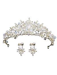 SODIAL 2018 New White Bride Crystal Crown Hair Hoop Dance Bridal Hair Ornaments Crystal Earrings Birthday Crown Bride Jewelry