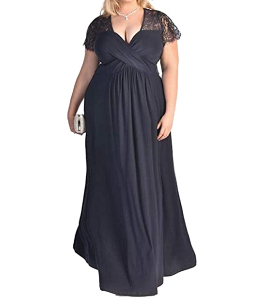 Women\'s Lace Evening Dress Plus Size Maxi Dress Stretch