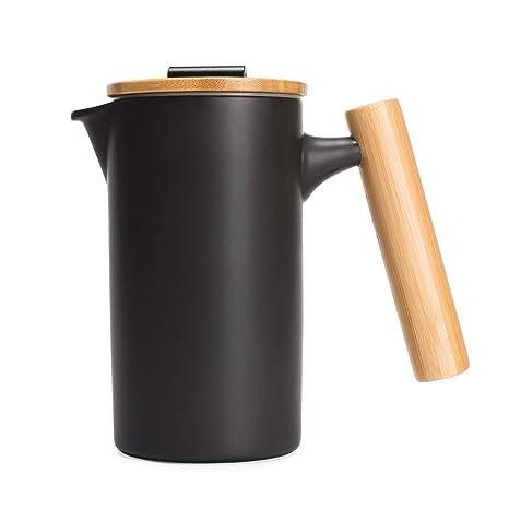 Amazon.com: Cafetera de cerámica DHPO con asa de bambú y ...