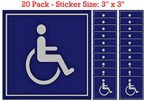 20 Pack of Disabled/Wheelchair Symbol ADA Compliant Handicap Access 3 X 3 Inch Blue Stickers, Adhesive on Back by SecurePro Products