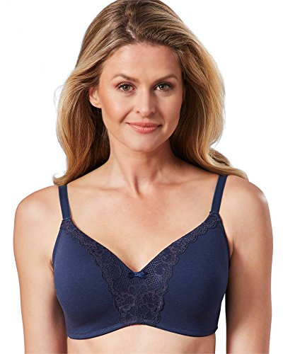 Q-T Intimates Molded Cup Wirefree Bra, Navy, 40D