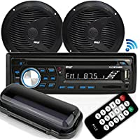 Pyle Bluetooth Marine Stereo Receiver & Waterproof Speaker Kit, Hands-Free Talking, CD Player, AM/FM Radio, MP3/USB/SD/AUX, (2) 6.5'' Speakers (PLCDBT75MRB)