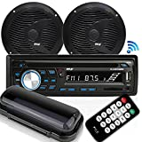 "Marine Stereo Receiver Speaker Kit - in-Dash LCD Digital Console Built-in Bluetooth & Microphone 6.5"" Waterproof Speakers (2) w/ MP3/USB/SD/AUX/FM Radio Reader & Remote Control - Pyle PLCDBT75MRB"