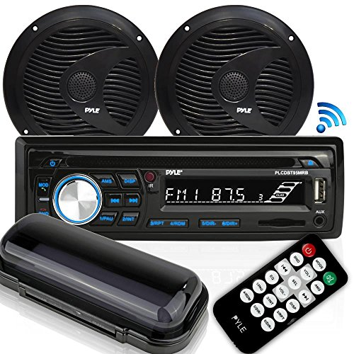 Pyle Bluetooth Marine Stereo Receiver & Waterproof Speaker Kit, Hands-Free Talking, CD Player, AM/FM Radio, MP3/USB/SD/AUX, (2) 6.5'' Speakers (PLCDBT75MRB) -