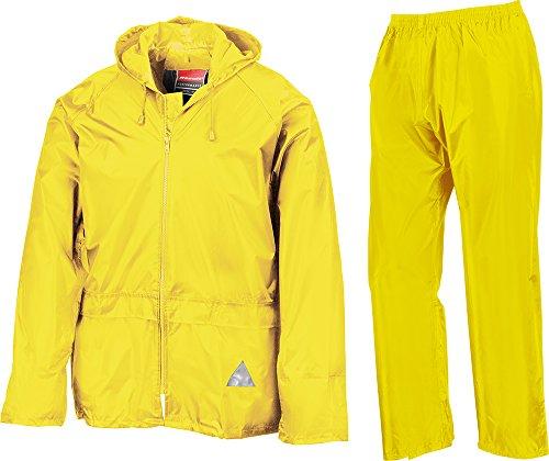 Result Heavyweight Waterproof Jacket/Trouser Suit Adult Windproof Coat/Pants Set Neon Yellow