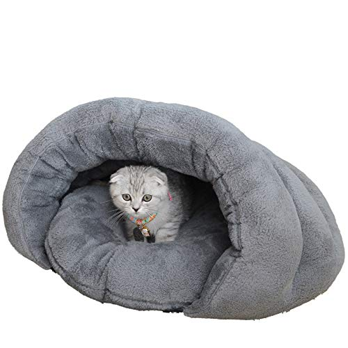 CZHCFF Soft winter cat bed warm puppy bed windproof half cover kennel bed pet bed cat sleeping bag