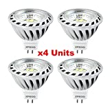 Xpeoo? Pack of 4 Units Mr16 Gu5.3 Super Bright LED Light 6w Equivalent to 50w Halogen Bulb Spotlight Down Lamp Energy Saving Recessed Tracking Lamps Ac Dc 12v - Cool White 4500k