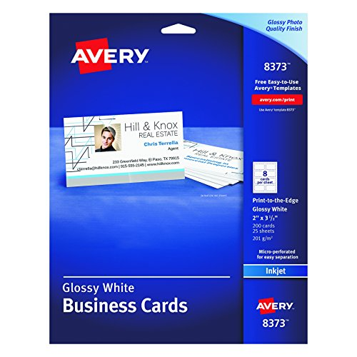 Avery Glossy Photo Quality Business Cards for InkJet Printers (8373)