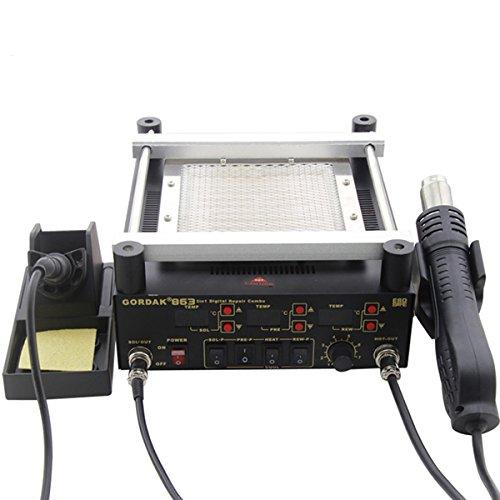 Soldering Tools - Wincom Dishman 863 3 in 1 Digital Hot Air Heat Gun BGA Rework Solder Station + Electric Soldering iron + IR Infrared Preheating Station - (Plug: 230V AU Plug)