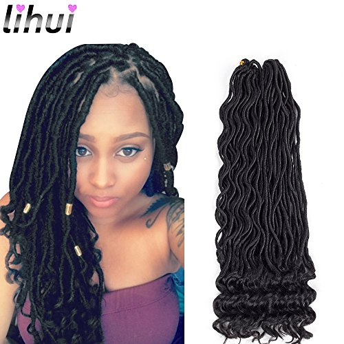 Lihui 6Pcs/Lot Goddess Locs Crochet Hair Curly Faux Locs Crochet Hair Wavy Faux Locs with Curly Ends Synthetic Braiding Hair Extension (20