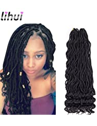 "Lihui 6Pcs/Lot Goddess Faux Locs Curly Faux Locs Crochet Hair Wavy Faux Locs with Curly Ends Synthetic Braiding Hair Extension (20"",#1B Color)"