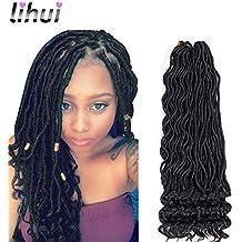 "Lihui 6Pcs/Lot Goddess Locs Crochet Hair Curly Faux Locs Crochet Hair Wavy Faux Locs with Curly Ends Synthetic Braiding Hair Extension (20"",#1B Color)"