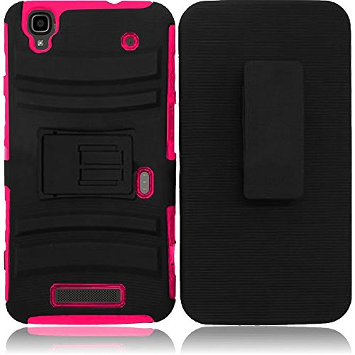 STACO® Extreme Rugged Impact Black Armor Hybrid Hard Case Heavy Duty Cover  Belt Clip Holster for ZTE Boost MAX N9250 + STACO® Stylus Pen