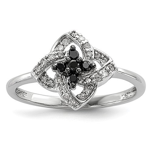 (925 Sterling Silver Black White Diamond Pinwheel Band Ring Size 6.00 Fine Jewelry Gifts For Women For Her)
