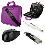 SumacLife Cady HP Chromebook 11 11.6-inch Laptop Briefcase Bag with USB Mouse & 4GB Thumbdrive & 3 Port USB Hub (Purple)