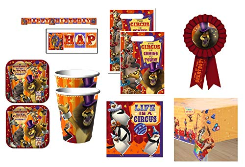 Madagascar Party Supplies (Madagascar Party Supply Bundle Set for 16 includes Lunch Plates, Napkins, Cups, Table Cover, Happy Birthday Banner, Favor Loot Bags, Award)