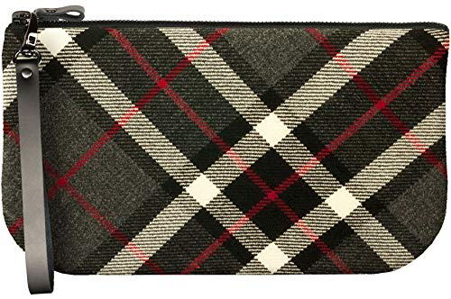 Small Leather Clutch Bag With Thomson Grey Tartan Large Enough to Fit iPad Mini
