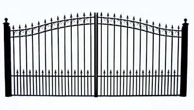 ALEKO DG12PRAD Prague Style Dual Swing Galvanized Steel Driveway Security Gate 12 x 6 Feet Black