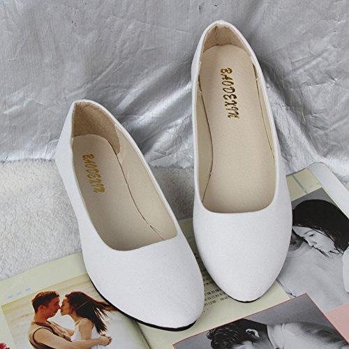 Básicas y Mujer Planos Sintética Piel Moda de Bailarinas Blanco Ocio Zapatos qqw5A8