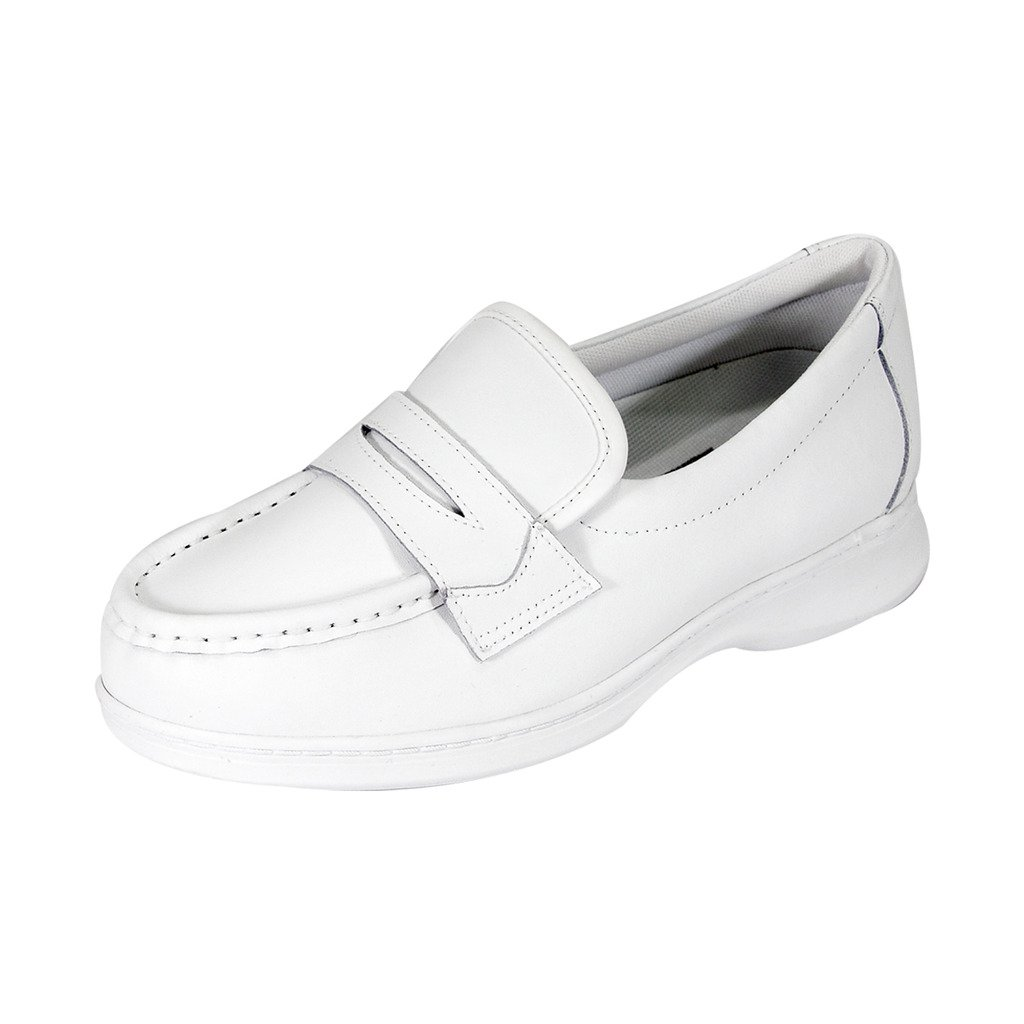 White 24 Hour Comfort FIC Annie Women Wide Width Slip On Moccasin Style Penny Loafer (Size Measurement Guide)