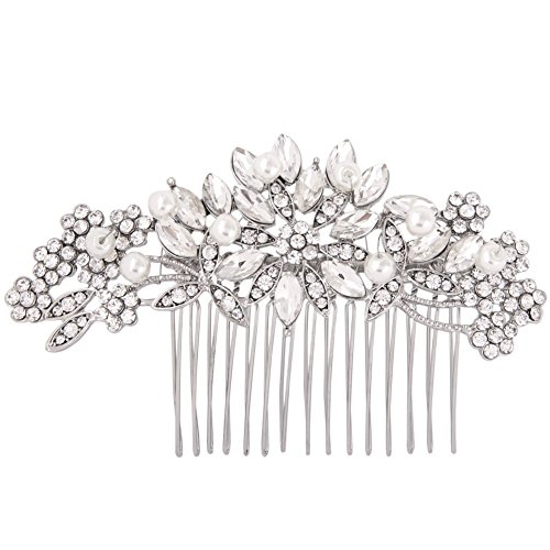 Clear Austrian Crystal Simulated Pearl Bridal Hair Comb Flower Leaves Rhinestone Hair Accessories
