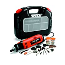 Black and Decker RT650KA-QS - Herramienta multiuso con 87 accesorios y maletín, 90 W, 230 V, color negro y naranja