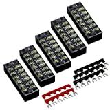 10pcs(5 Sets) 6 Positions Dual Row 600V 25A Screw Terminal Strip Blocks with Cover + 400V 25A 6 Positions Pre-Insulated Terminal Barrier Strip (Black/Red) by MILAPEAK