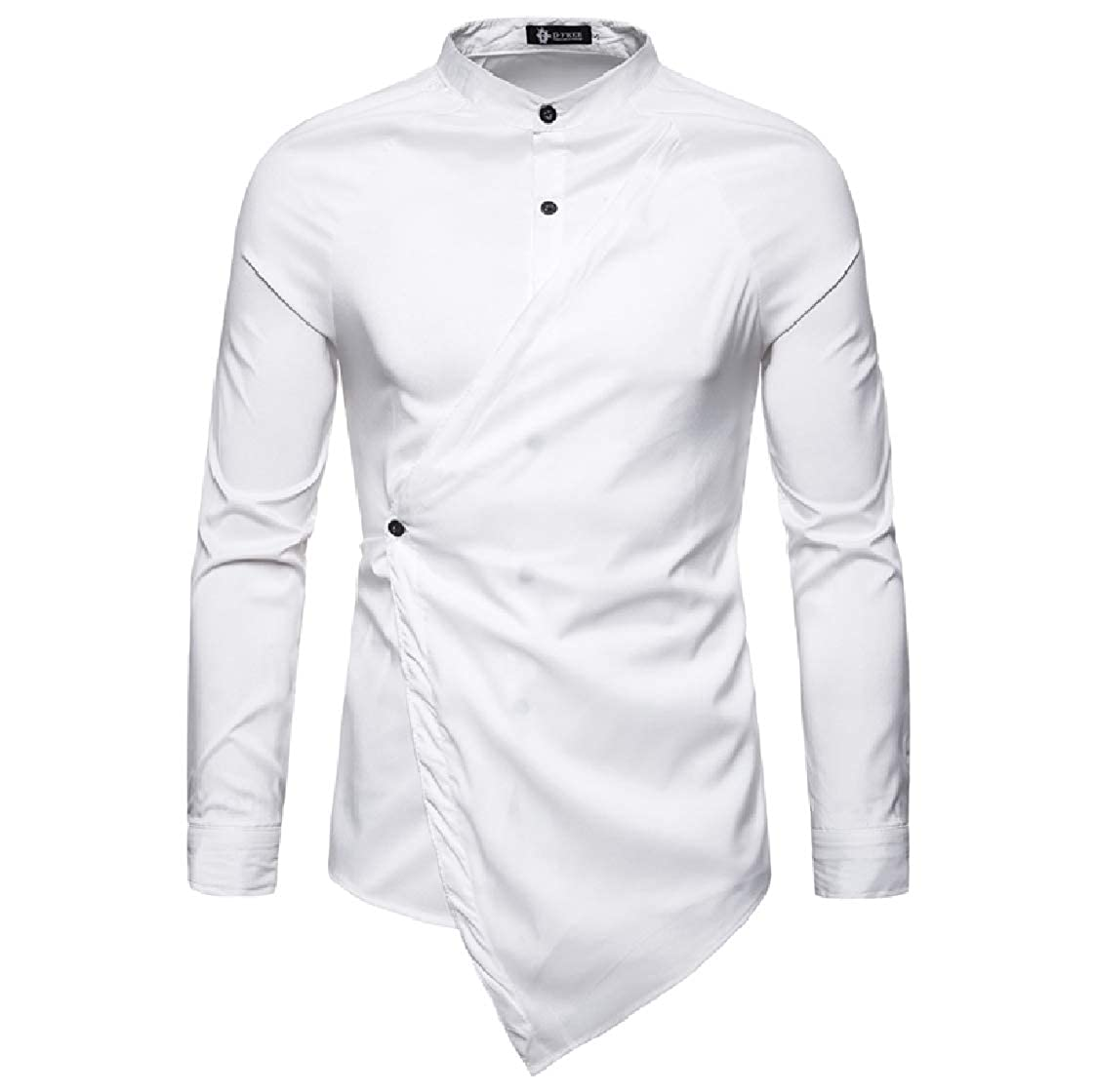 Nanquan Men Long Sleeve Solid Color Stand Collar Slim Fit Irregular Hem Shirt