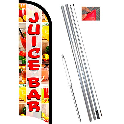 Juice Bar Premium Windless Feather Flag Bundle (11.5' Tall Flag, 15' Tall Flagpole, Ground Mount Stake)