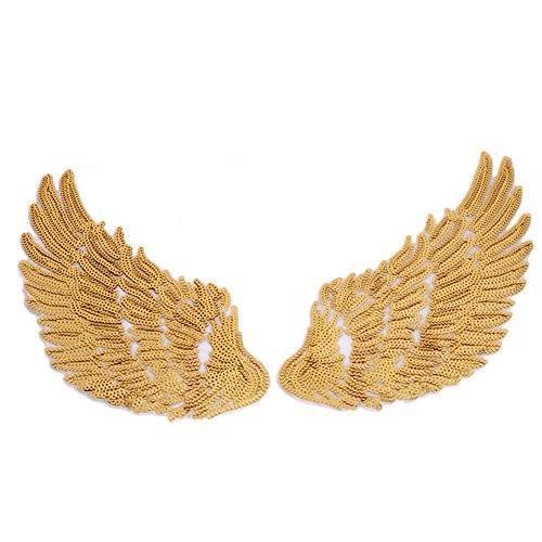 [Hunulu 1Pair Sequins Patch For Clothes Garments Iron Sew Angel Wings Embroidered Patch (gold)] (Angel Costume Tumblr)