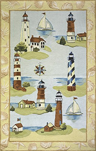 Momeni Rugs COASTCC-02MTI3050 Coastal Collection, 100% Cotton Hand Hooked Transitional Area Rug, 3' x 5', - Coastal Momeni Fish