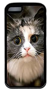 iPhone 5C Case,Customize Ultra Slim Looking At The Cat Soft Rubber TPU Black Case Bumper Cover for iPhone 5C