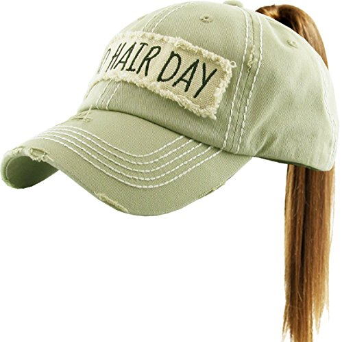 - KBETHOS Bad Hair Day Ponytail Hat Vintage Distressed Ball Cap Hat Ladies Styles (Adjustable, (100) Khaki)