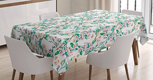 (Ambesonne Flower Tablecloth Decor, Pink Cherry Blossoms Pattern with Bumble Bees Japanese Spring Themed Chic Print, Dining Room Kitchen Rectangular Table Cover, 60 W X 90 L inches, Green Pink )