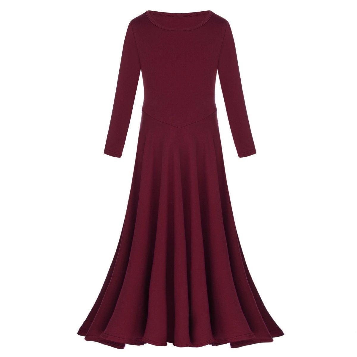 IBTOM CASTLE Womens Liturgical Praise Lyrical Dance Dress Loose Fit Full Length Long Sleeve Worship Costume Ballet