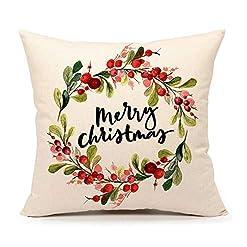 Christmas Farmhouse Home Decor 4TH Emotion Merry Christmas Wreath Throw Pillow Cover 18×18 Inch Home Decor Cushion Case for Sofa Couch Cotton Linen… farmhouse christmas pillow covers