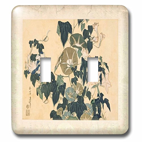 Florene - Hokusai Japanese Art - Print of Woodcut Vintage Plant Painting - Light Switch Covers - double toggle switch (lsp_204002_2)