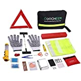 COOCHEER Auto Emergency Kit,Multifunctional Roadside Assistance 43-In-1 Auto Emergency Kit with Triangle,Flashlight,Tire Pressure Gauges,Safety Hammer (43 in 1, Black)