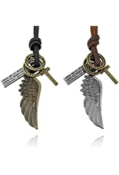 Men,Women's 2 PCS Alloy Genuine Leather Pendant Necklace Gold Silver Two Tone Brown Cross Angel Wing Ring Adjustable 16~26 Inch Chain Set