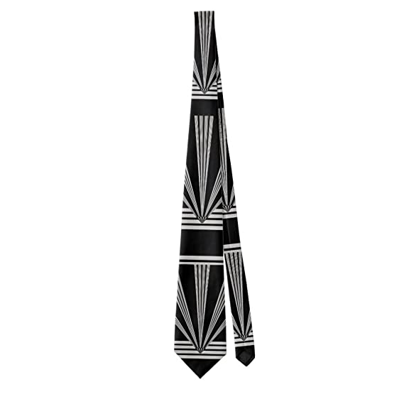 Men's Vintage Christmas Gift Ideas Zazzle Tie Silver Black Art Deco 2 $33.19 AT vintagedancer.com