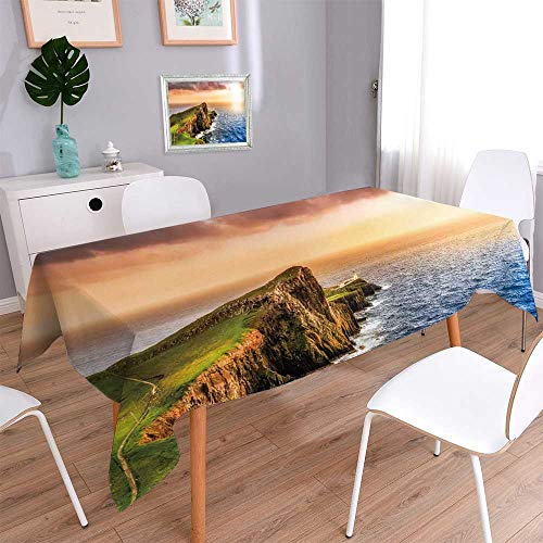PINAFORE HOME Spillproof Fabric Tablecloth Colorful Ocean Coast Panoramic Sun at Neist Point Lighthouse Scotland Great for Buffet Table,Wedding & More/Rectangle, 70 x 120 Inch