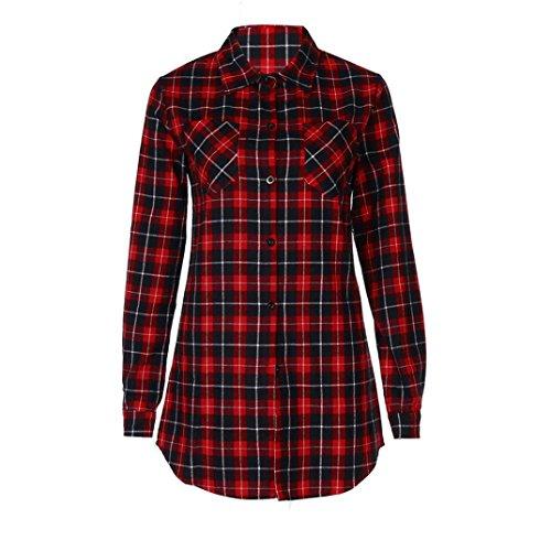 Ikevan Women Fall Winter Cotton Full Sleeve Plaid Stand Women Top (XL)