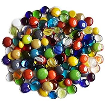 45 Colors WeJe Glass Gems Standard 17-21mm Round 14oz, Aqua Mix Caque Cats Eye Swirl Flat Back Marbles for Home Decor Art Craft Vase Filler Aquariumlear Op
