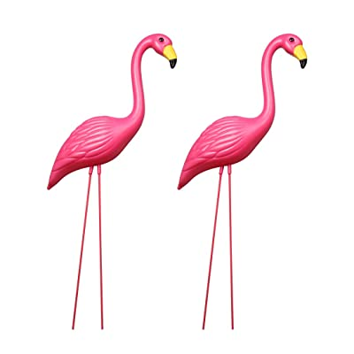 And Bird Flamingo Novelty Yard Lawn Art Garden Ornaments, Garden Flamingo Decor, Adjustable Feet Length, Party Decor Supplier - Pack of 2 : Industrial & Scientific