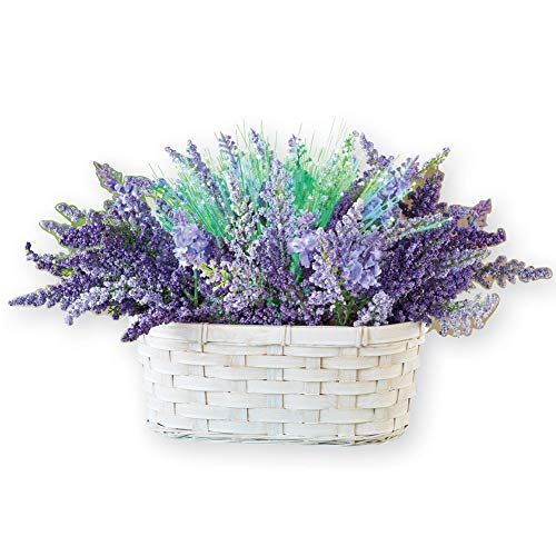 Lighted Fiber Optic Color-changing Lavender Flowers In White Basket, Purple
