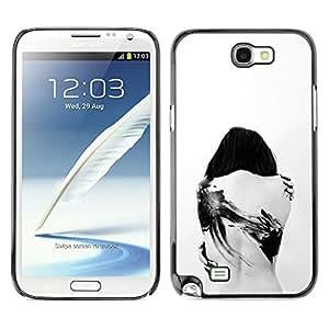 TopCaseStore / la caja del caucho duro de la cubierta de protección de la piel - Tattoo Deep Sad Goth Emo White Black - Samsung Galaxy Note 2 N7100