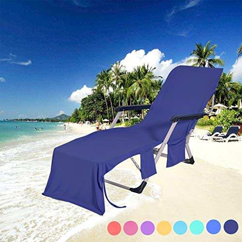 DoMii Lightweight Microfibre Lounge Chair Beach Towel Cover Recliners Towel with Side Pockets for Holidays Sunbathing 84.6 x 29.5-inch Navy Blue