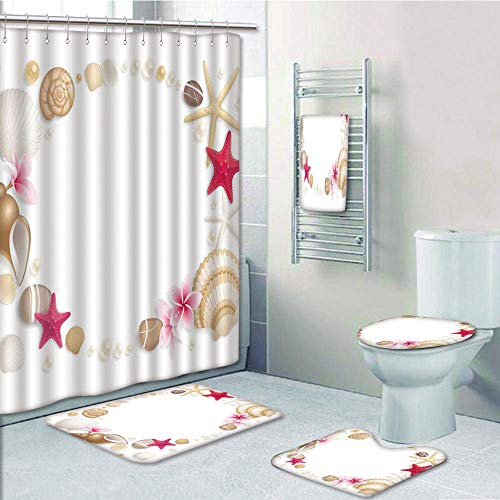 iPrint Bathroom 5 Piece Set Shower Curtain 3D Print,Pearls Decor,Frame with Seashells Starfish Stones Frangipani Exotic Flower Pattern Print Decorative,Beige Fuchsia,Picture Print Design